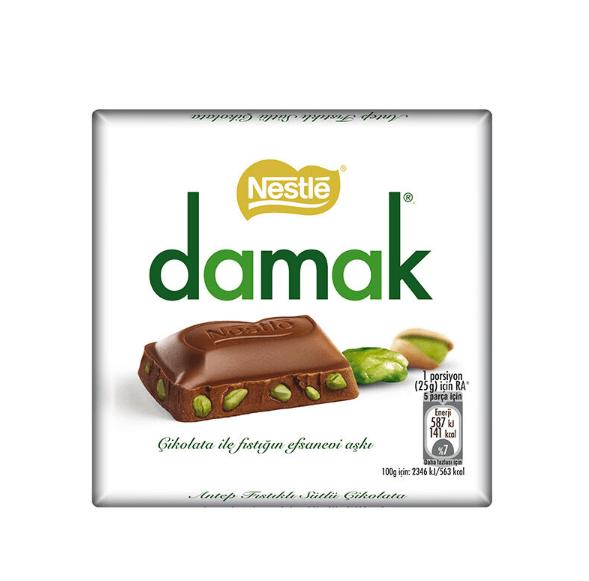 resm Nestle Damak Antep Fıstıklı Sütlü Çikolata 63 g