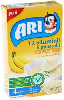 Resim Arı Mama 12 Vitaminli 6 Mineralli Sütlü Muzlu Pirinç Unu 250 g