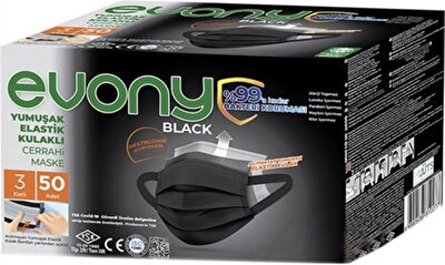 Resim Evony Siyah Elastik Kulaklıklı Cerrahi Maske 50 li
