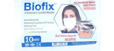 Resim Biofix  10'lu 3 Katlı Lastikli Maske Paket